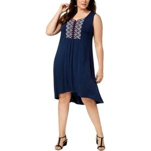 Style & Co Embroidered Dress Sleeveless Navy 2X